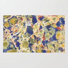 Marbling, yelow, blue and red Rug