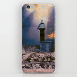 Light House in storm iPhone Skin