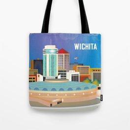 Wichita, Kansas - Skyline Illustration by Loose Petals Tote Bag