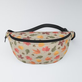 Autumn Leaves Pattern Beige Background Fanny Pack