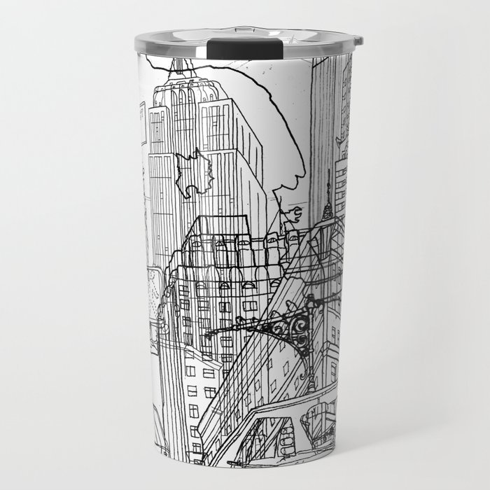 New York! B&W Travel Mug