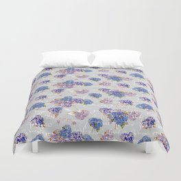 Hydrangeas and French Script with birds on gray background Duvet Cover