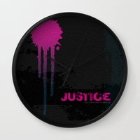 justice league Wall Clocks featuring JUSTICE by TheCore