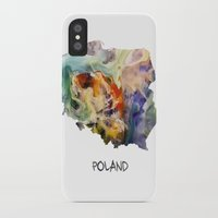 poland iPhone & iPod Cases featuring Map of Poland watercolor by jbjart