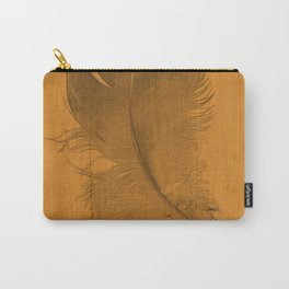 baby feather on a tangerine orange background Carry-All Pouch