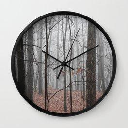Woods on a Foggy Sunday Stroll Wall Clock