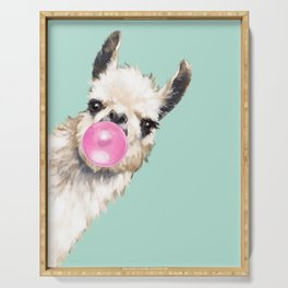 Bubble Gum Sneaky Llama in Green Serving Tray