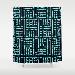 Geometric Cyan Circuit Shower Curtain