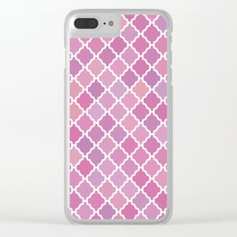 Pink Purple Pattern Clear iPhone Case