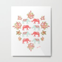 Pink and blue elephants Metal Print
