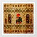 Egyptian Horus Ornament on Papyrus by k9printart