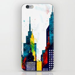 Colorful City Buildings And Skyscrapers In Watercolor, New York Skyline, Wall Art Poster Decor, NYC iPhone Skin