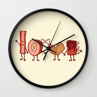 Wall Clocks featuring Meat Love U by Charity Ryan