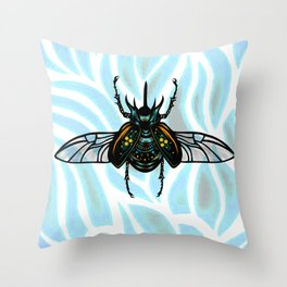 Rhino Beetle Throw Pillow