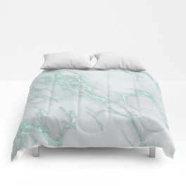 Marble Love Mint Metallic Comforters