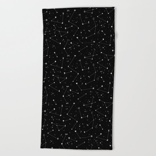 Constellations (Black) Beach Towel