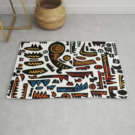 African Inspired Pattern Abstract Art Graffiti  Rug