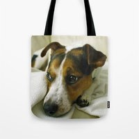 jack russell Tote Bags featuring jack russell by Brmbrmba27
