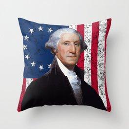 President George Washington and The American Flag Throw Pillow
