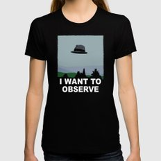 I Want to Observe Womens Fitted Tee MEDIUM Black
