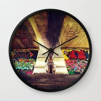 graffiti Wall Clocks featuring 'GRAFFITI' by Dwayne Brown