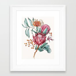 King protea flowers watercolor illustration Framed Art Print