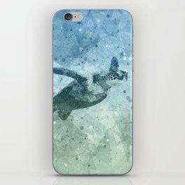 Geometric Flying Green Sea Turtle iPhone Skin