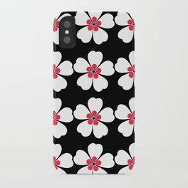 Japanese Sakura Floral Pattern - Black iPhone Case
