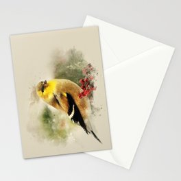 Goldfinch Watercolor Art Stationery Cards