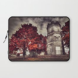 Red Tower of autumn, red trees in a park, old white tower building Laptop Sleeve