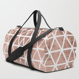 Geometric faux rose gold foil triangles pattern Duffle Bag
