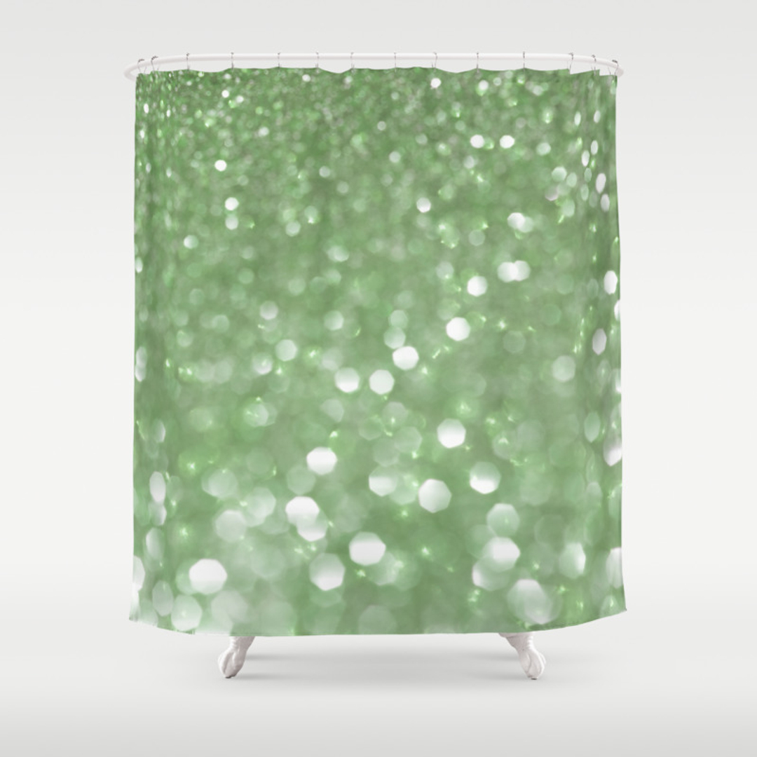 Polkadots Shower Curtains Society - Mint green shower curtain