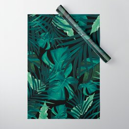 Tropical Jungle Night Leaves Pattern #1 #tropical #decor #art #society6 Wrapping Paper