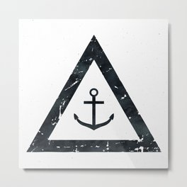 Vintage Anchor Black and White Metal Print