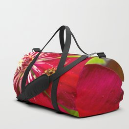 Flowers & bugs RED PASSION FLOWER & HOVERFLY Duffle Bag