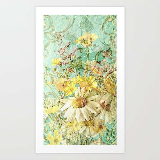 Boho Daisies and Buttercups Art Print