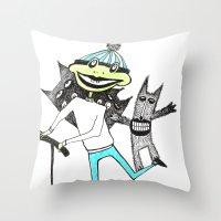 sport Throw Pillows featuring Sport frog by KRADA ZHAN ART