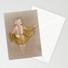 """Golden Goddess"" - The Playful Pinup - Majestic Curvy Pin-up Beauty in Gold by Maxwell H. Johnson Stationery Cards"