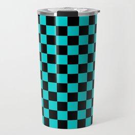 Black and Cyan Checkerboard Travel Mug