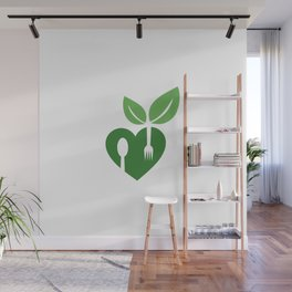 Love for vegan food with organic leaves and spoon forks Wall Mural