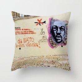ANTI WAR GRAFFITI IN LISBON  Throw Pillow