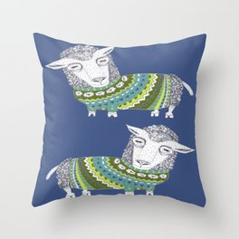 Sheep wearing Fair Isle knitted sweater Throw Pillow