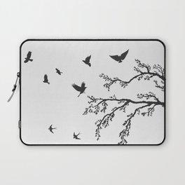 flock of flying birds on tree branch Laptop Sleeve