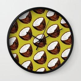Coconut Pattern - Green Wall Clock