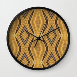 Yellow , Ochre and Brown Diamond Pattern Wall Clock