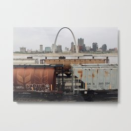 St. Louis Arch from Train Yard Metal Print