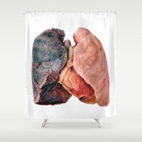 lungs Shower Curtains featuring Smoker's Lungs by Katie Be Creative