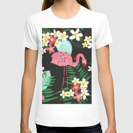 Tropical Pattern With Frangipani and Flamingo T-shirt