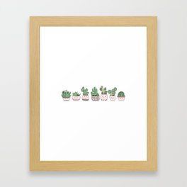 Happy succulent cactuses Framed Art Print