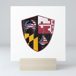 Maryland Flag T-Shirt  MD Crest Crabbing and Sailing love Mini Art Print